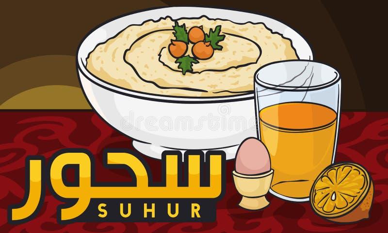 Традиционный завтрак Рамазана Suhur с Hummus, яичком и апельсиновым соком, иллюстрацией вектора иллюстрация вектора
