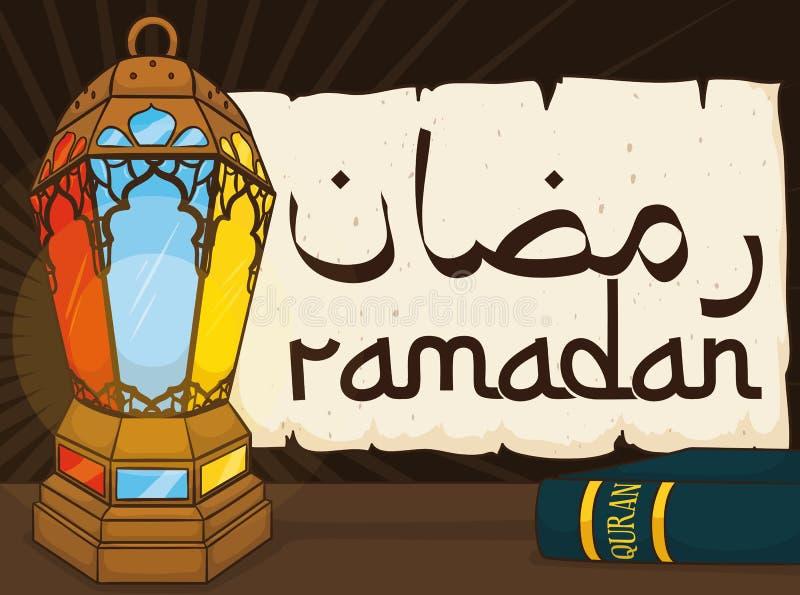 Традиционный комплект элементов для торжества Рамазана, иллюстрации вектора бесплатная иллюстрация