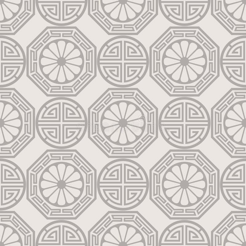 Традиционный корейский, японский, китайский безшовный дизайн картины иллюстрация вектора