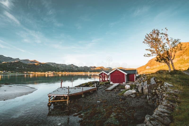 Традиционный красный дом fishin в Bjoernsand около Reine в Lofoten, Норвегии с красными домами rorbu После полудня захода солнца  стоковые фотографии rf