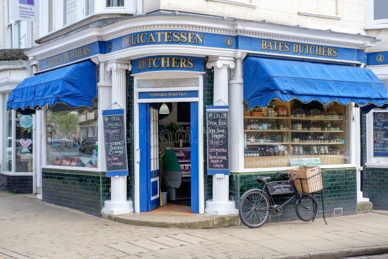 Традиционный магазин мясников в Лестершире, Великобритании стоковые фото