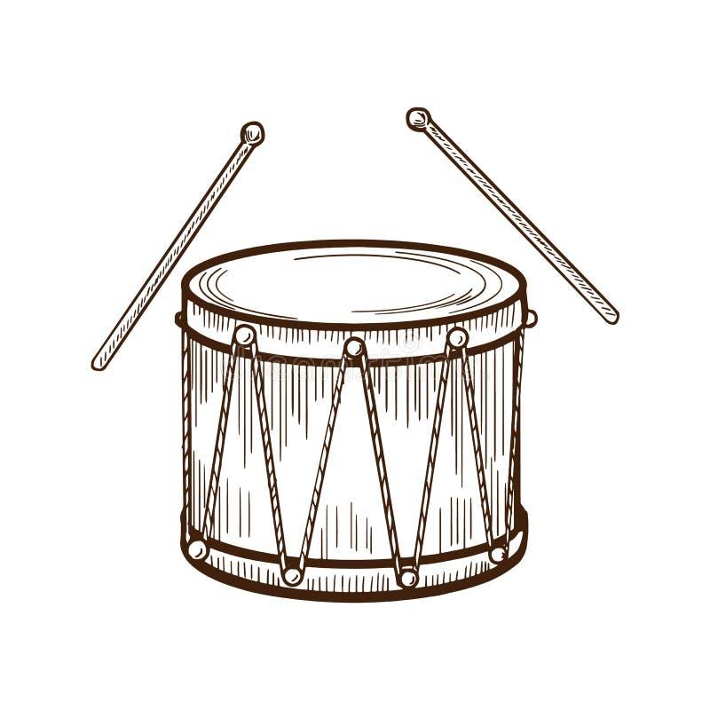 Традиционный мюзикл, барабанчик аппаратуры масленицы с палочками Развлечения, музыка, масленица иллюстрация вектора