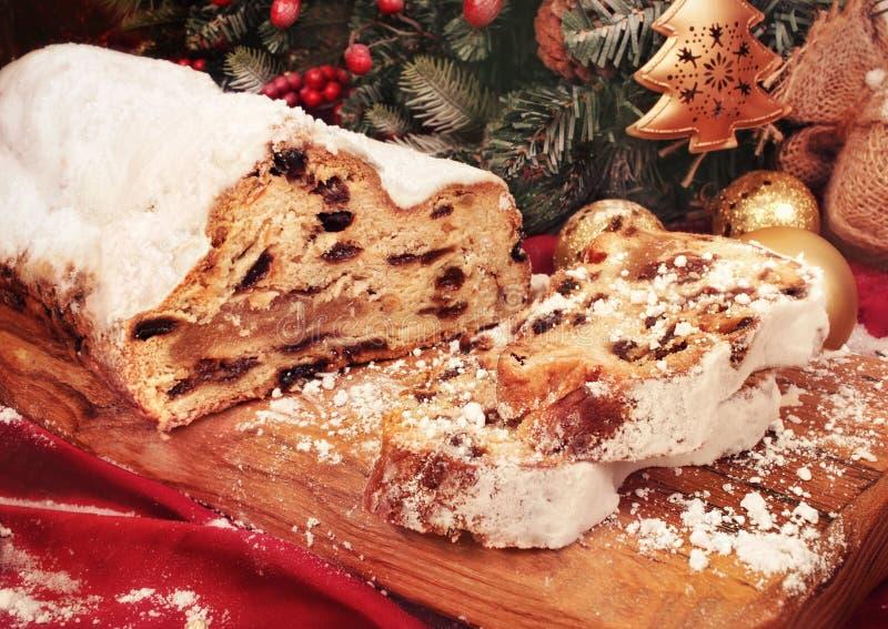 Традиционный торт рождества, stollen торт стоковая фотография