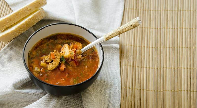 Традиционный украинский русский борщ овощного супа, с трудной сливк хлебцы рож петрушки стоковые фотографии rf
