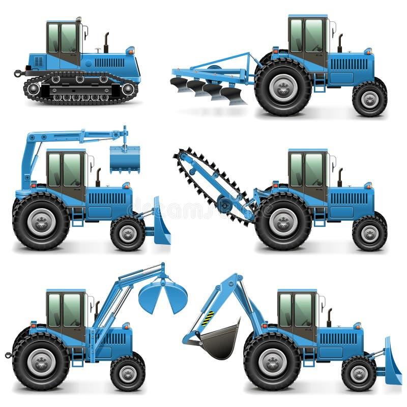 Трактор вектора аграрный установил 1 иллюстрация штока