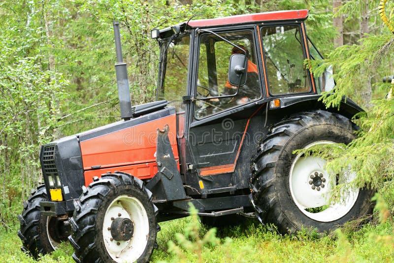 Трактор в лесе стоковые изображения