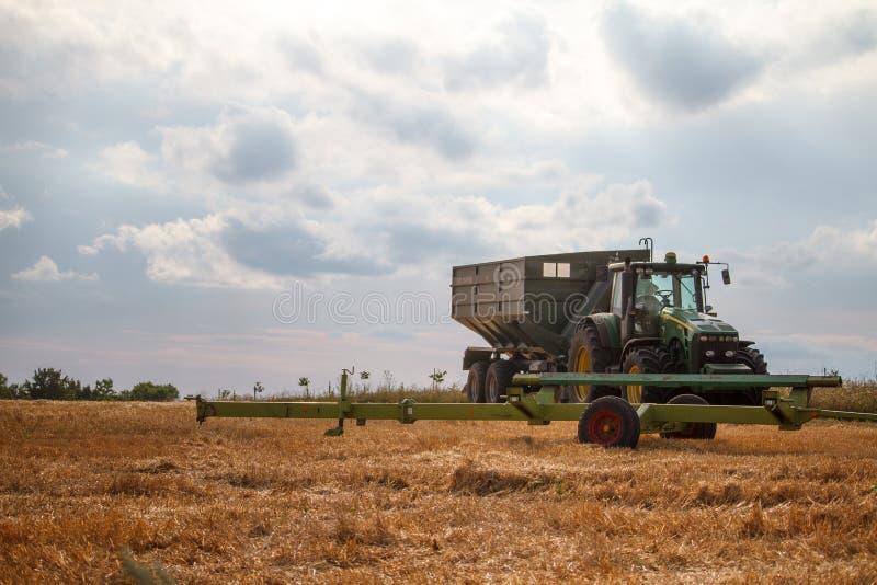 Трактор для собирать пшеницу от жатки комбайна стоит на поле накошенной пшеницы против голубого облачного неба стоковое фото rf
