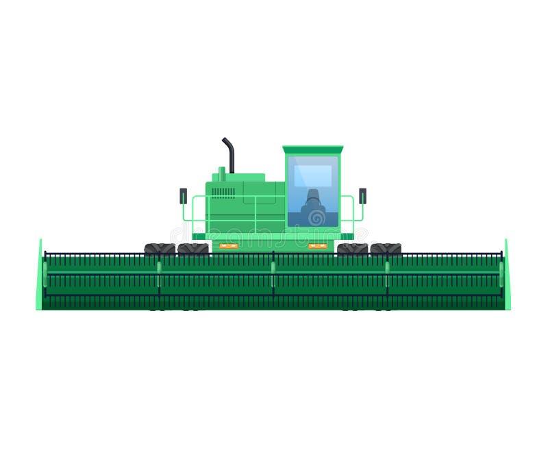 Трактор, жатка для сбора зерна Зернокомбайн, трактор на поле иллюстрация штока