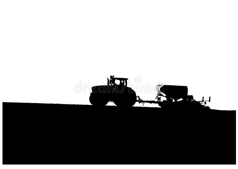 Трактор засеянный в поле иллюстрация штока