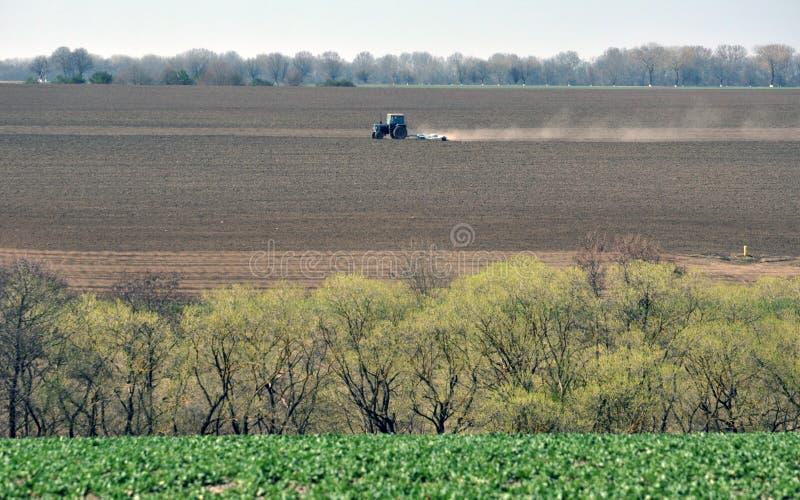 Трактор подготавливает почву для засевать аграрные урожаи стоковые фотографии rf