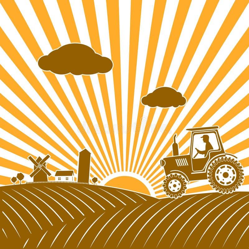 Трактор работая в поле иллюстрация вектора