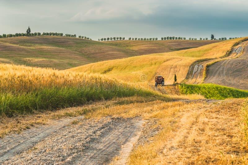 Трактор с трейлером на полях в Тоскане, Италии стоковые изображения