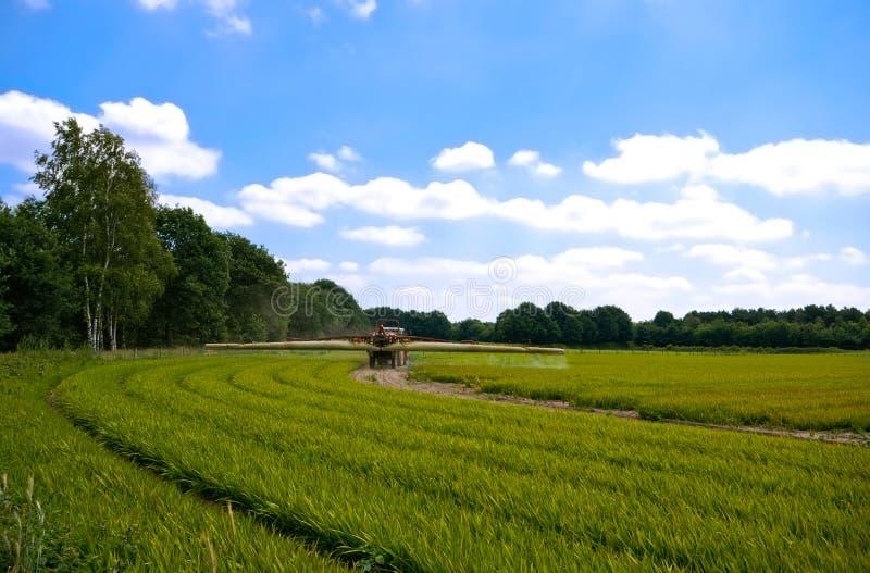 трактор spr зеленого цвета сельскохозяйствення угодье земледелия яркий стоковые изображения rf