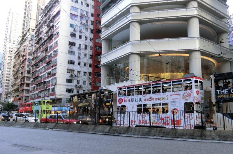 Трамваи в Гонконге стоковое фото