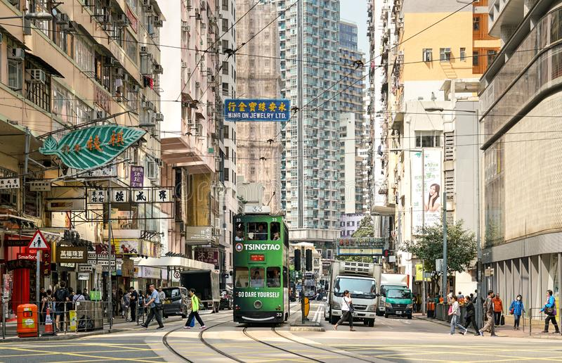Трамваи Гонконга в острове Гонконга стоковое фото rf