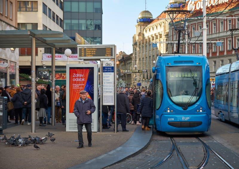 Трамвайная остановка Загреба стоковое изображение