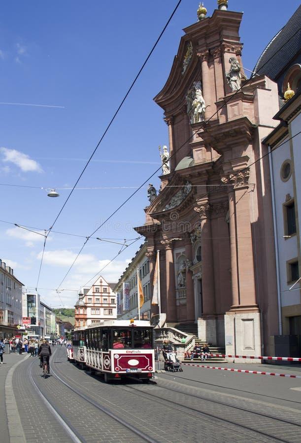 Трамвай в Wurzburg, Германии стоковые изображения