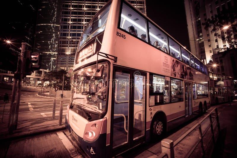 Трамвай ночи Гонконга стоковые изображения rf