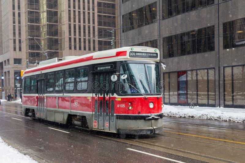 Трамвай Торонто в зиме стоковое изображение rf