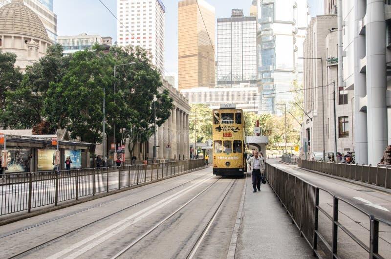 Трам в Гонконге, Китай стоковые фото