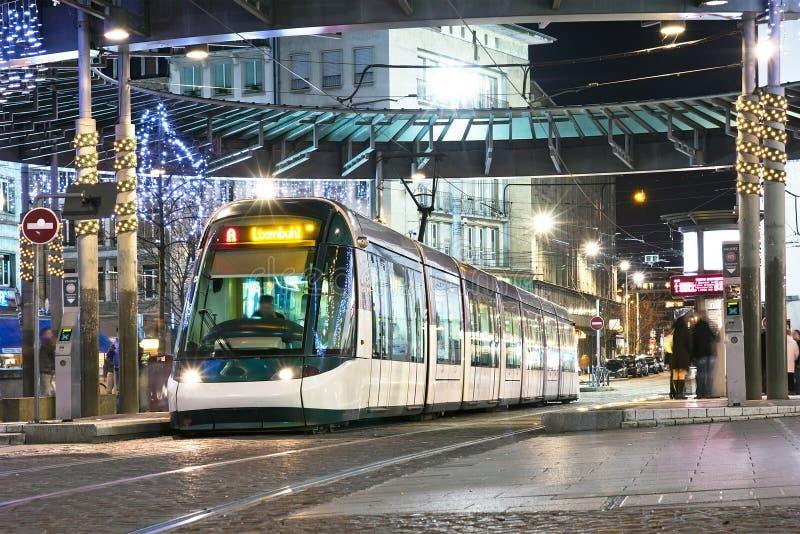 Трам ночи Страсбурга стоковые фото