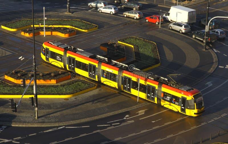 трам warsaw улицы стоковое изображение