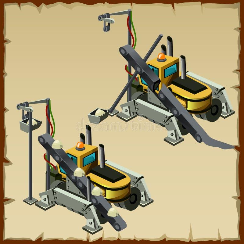 Транспортер 2 для выкапывать и транспортировать почву иллюстрация штока