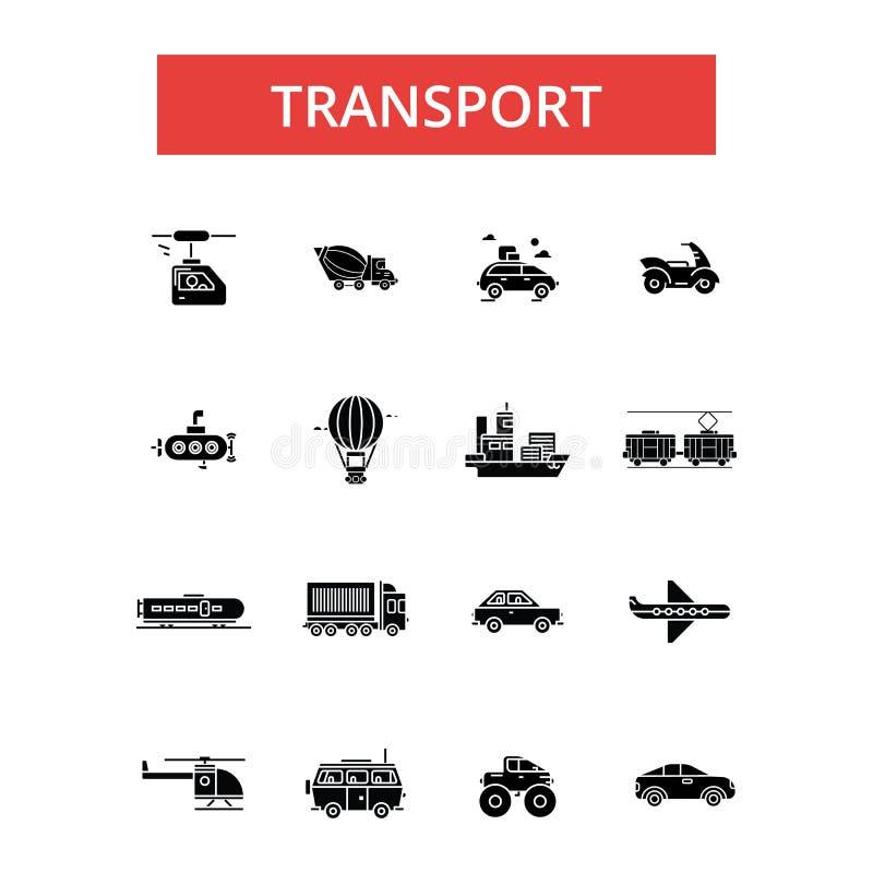 Транспортируйте иллюстрацию, тонкую линию значки, линейные плоские знаки, символы вектора иллюстрация вектора