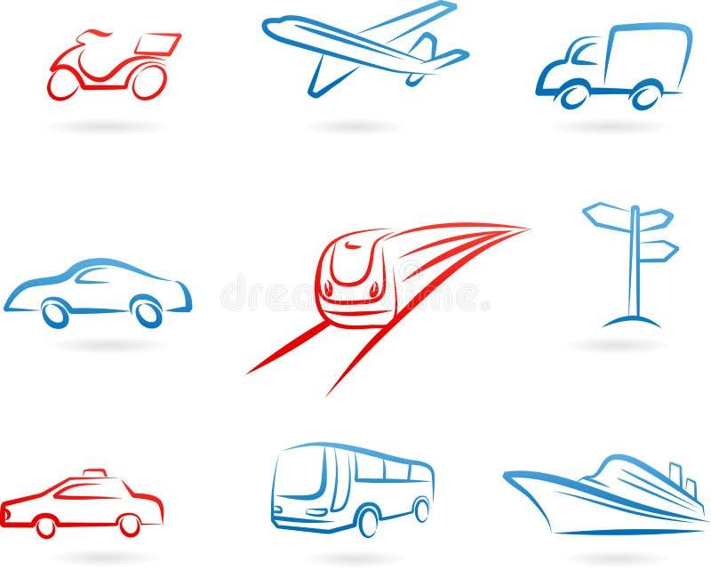 Транспортируйте комплект иконы принципиальной схемы бесплатная иллюстрация