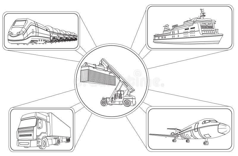 Транспортируйте концепцию, нагружать контейнеров и транспорт иллюстрация вектора
