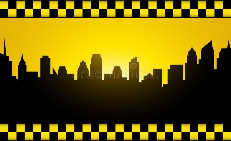 Предпосылка с силуэтом и такси города вечера бесплатная иллюстрация