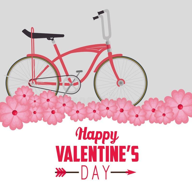 Транспортное средство велосипеда для того чтобы отпраздновать Валентайн иллюстрация вектора