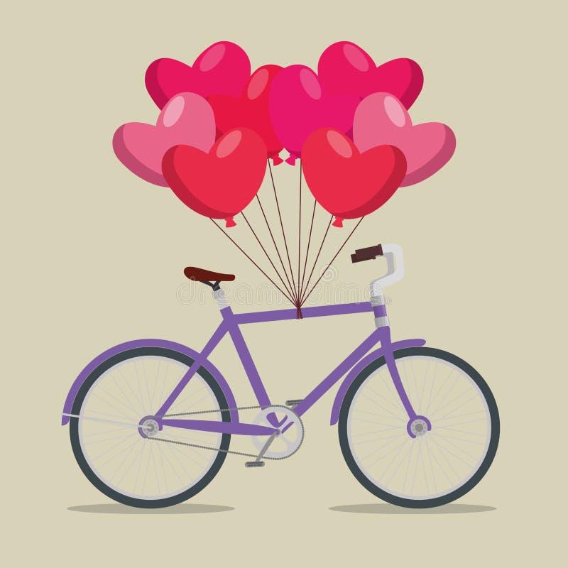Транспортное средство велосипеда с воздушными шарами сердец бесплатная иллюстрация