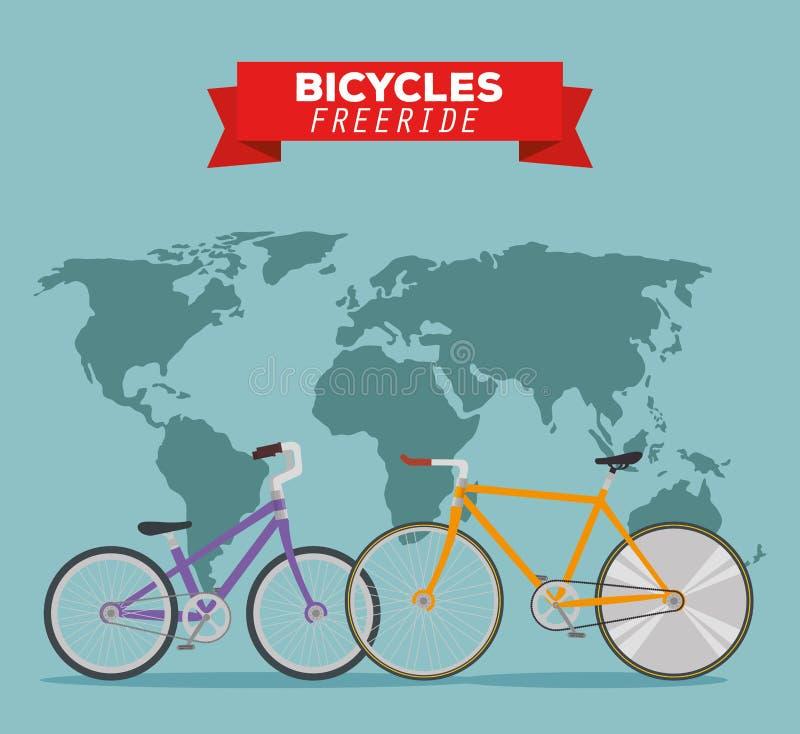 Транспортное средство велосипедов к freeride в мире бесплатная иллюстрация