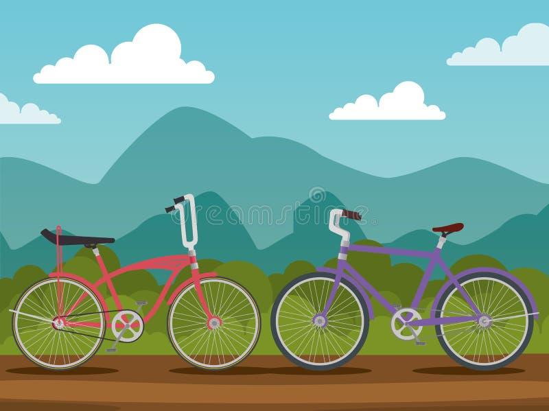 Транспортное средство велосипедов с лепестком и местом иллюстрация вектора