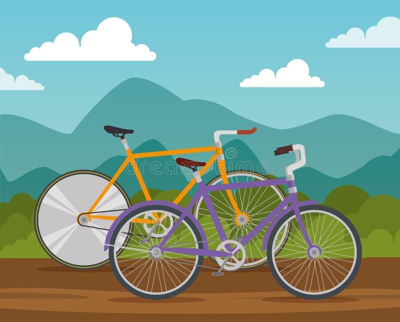Транспортное средство образа жизни велосипедов, который нужно ехать иллюстрация вектора