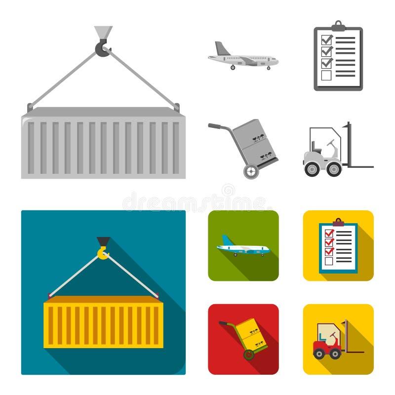 Транспортный самолет, тележка для транспорта, коробок, грузоподъемника, документов Логистический, установите значки собрания в mo иллюстрация штока