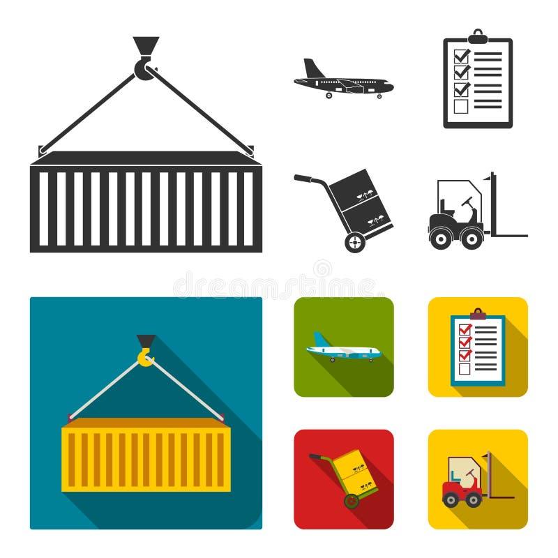 Транспортный самолет, тележка для транспорта, коробок, грузоподъемника, документов Логистический, установите значки собрания в че иллюстрация вектора