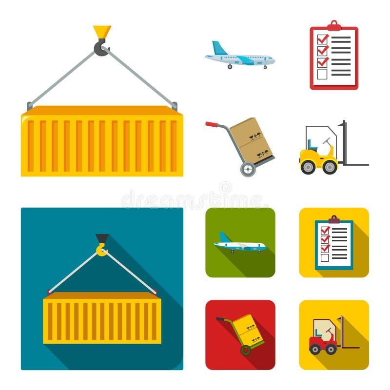 Транспортный самолет, тележка для транспорта, коробок, грузоподъемника, документов Логистический, установите значки собрания в ша иллюстрация вектора