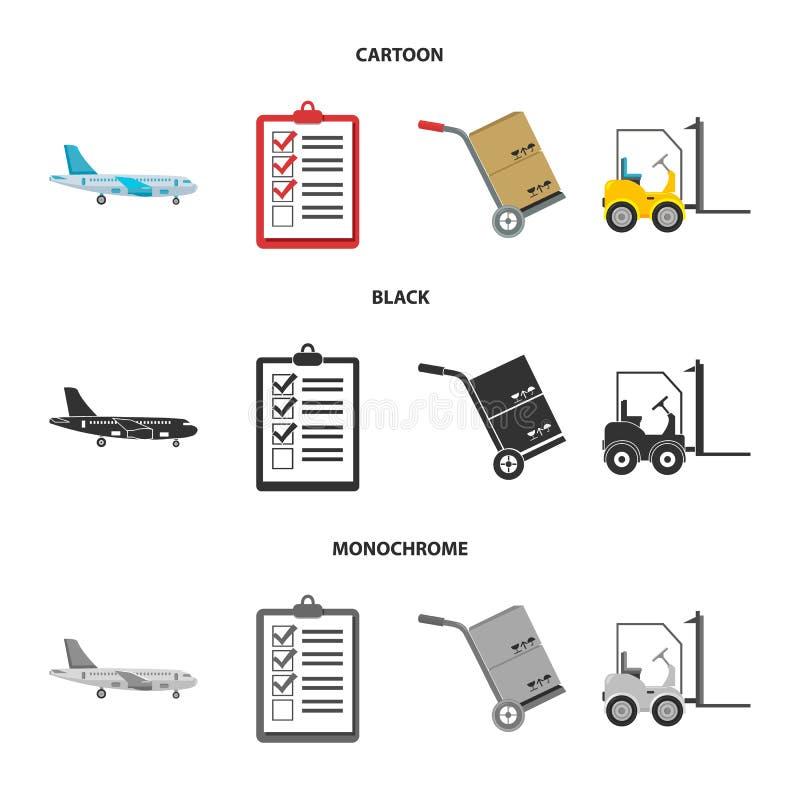 Транспортный самолет, тележка для транспорта, коробок, грузоподъемника, документов Логистический, установите значки собрания в ша бесплатная иллюстрация