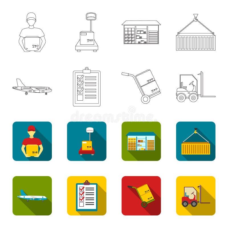 Транспортный самолет, тележка для транспорта, коробок, грузоподъемника, документов Логистический, установите значки собрания в пл бесплатная иллюстрация