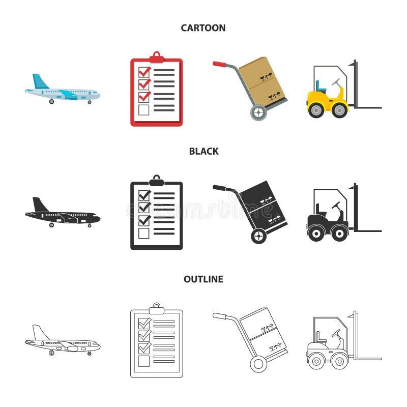 Транспортный самолет, тележка для транспорта, коробок, грузоподъемника, документов Логистический, установите значки собрания в ша иллюстрация штока