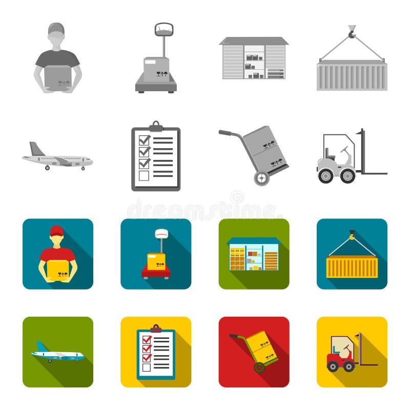 Транспортный самолет, тележка для транспорта, коробок, грузоподъемника, документов Логистический, установите значки собрания в mo бесплатная иллюстрация