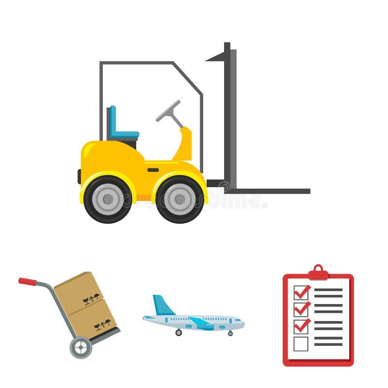 Транспортный самолет, тележка для транспорта, коробок, грузоподъемника, документов Логистический, установите значки собрания в ве иллюстрация штока