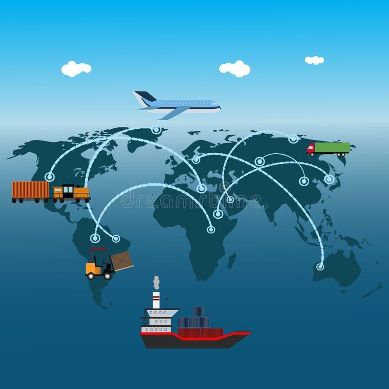 Транспорт концепции транспорта снабжения плоский глобальный сверх иллюстрация штока