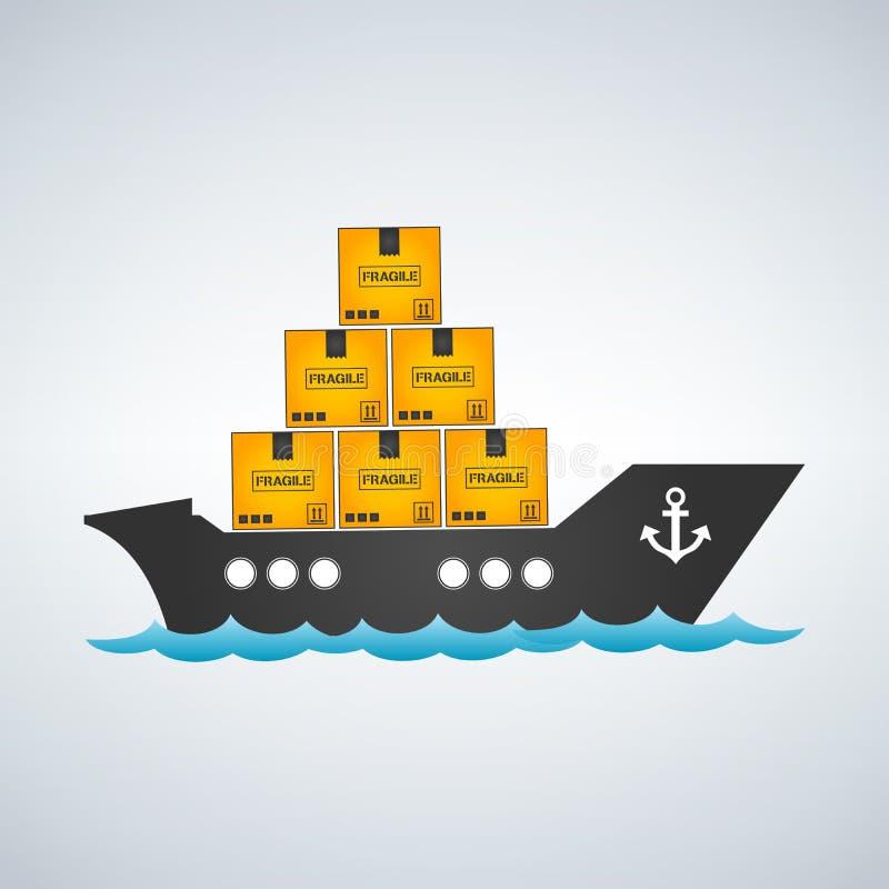 Транспорт моря логистический Перевозка моря Морская доставка Торговый флот корабль порта hamburg груза деятельностей Иллюстрация  иллюстрация вектора