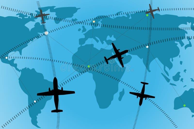 трасса авиакомпании иллюстрация штока
