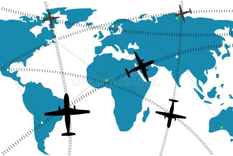 трасса иллюстрации авиакомпании иллюстрация вектора