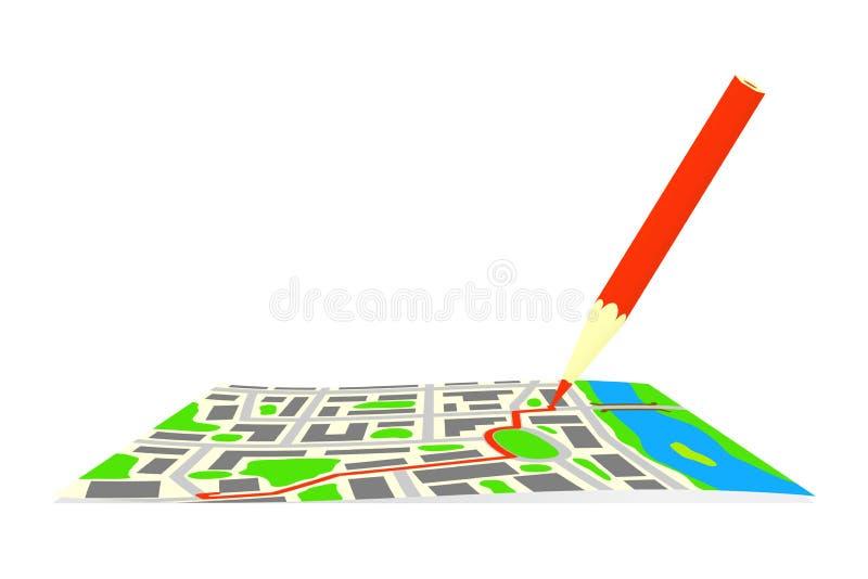 Трасса и карандаш на карте города бесплатная иллюстрация