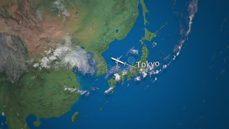 Трасса коммерчески летания самолета от токио к Москве на глобусе земли Международная анимация вступления отключения иллюстрация вектора